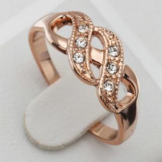 ウエーブデザイン ピンクゴールド リング(リング(指輪))