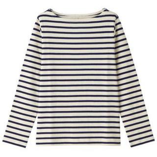 MUJI (無印良品) - 新品   無印良品  太番手天竺編み長袖Tシャツ(ボーダー)