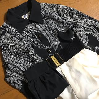 Santa Monica - 黒 ペイズリー柄 ジャケットシャツ エスニック