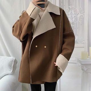 ビックシルエット ムートンライダースジャケット 韓国ファッション