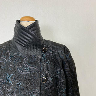 ●S411 used real leather paisley coat(ロングコート)