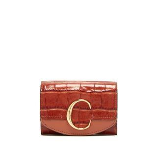 Chloe - クロエ クロコ型押しミニ財布 ブラウン