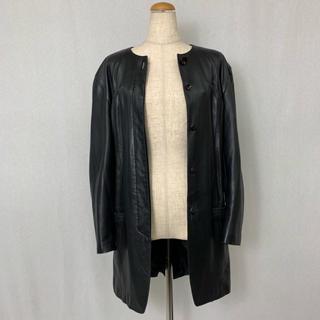 ●S413 used no collar leather coat(ノーカラージャケット)