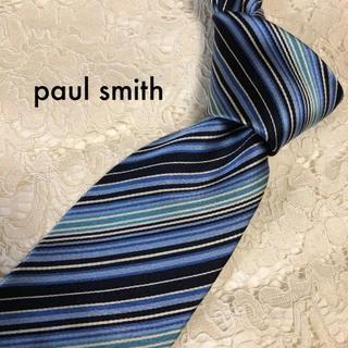 ポールスミス(Paul Smith)の美品!paul smith 高級シルク ネクタイ ネイビー×ブルー 大人気!(ネクタイ)
