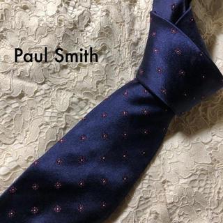 ポールスミス(Paul Smith)の美品‼ Paul Smith ネクタイ シルク ネイビー 小紋柄 大人気‼(ネクタイ)