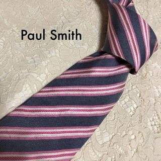 ポールスミス(Paul Smith)の美品!Paul Smith ネクタイ グレー×ピンク ストライプ 大人気!(ネクタイ)