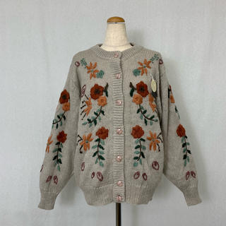 ●S422 used flower mohair knit cardigan(カーディガン)