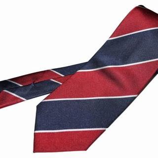 コムサイズム(COMME CA ISM)の新品 コムサイズム ネクタイ レジメンタル 赤 紺 シルク100% ストライプ (ネクタイ)