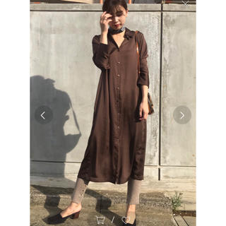 Ameri VINTAGE - ameri back tuck shirts dress ブラウン