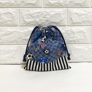 サッカーグレー&ストライプ コップ袋(外出用品)