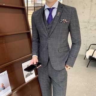 メンズスーツセットアップ大人気ホスト定番司会者スリム紳士服灰 OT065(セットアップ)
