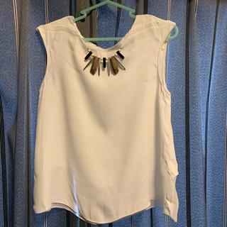 ザラ(ZARA)のZARA BASIC 白ノースリーブトップス(シャツ/ブラウス(半袖/袖なし))