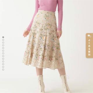 ジルスチュアート(JILLSTUART)のジルスチュアート カメル刺繍レーススカート サイズ0(ひざ丈スカート)