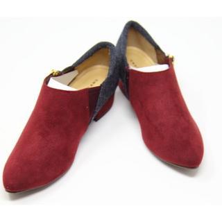 ジェリービーンズ(JELLY BEANS)の新品★ JELLY BEANS スエード ショートブーツ 赤 22.5cm(ブーツ)