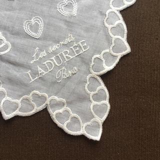 LADUREE - 値下げしました!LADUREE ハート刺繍 レース ガーゼハンカチ