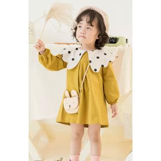 韓国風 子供とんがり襟ワンピース ピンク(ワンピース)