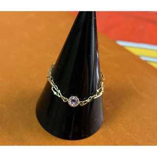 K18 ピンクトルマリンの2連チェーンリング(リング(指輪))