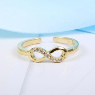 ゴールド インフィニティリング シルバー925 無限リング 8の字 指輪(リング(指輪))