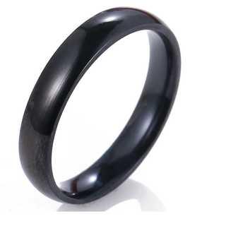 シンプルなファッションリング(ブラック) サイズ:28号(リング(指輪))