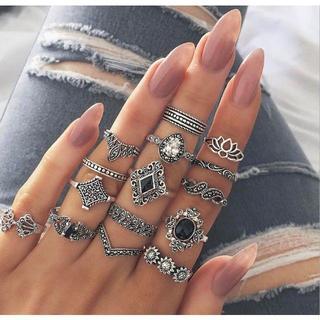 リング 15種セット 指輪 かわいい おしゃれ アンティーク アクセサリー(リング(指輪))