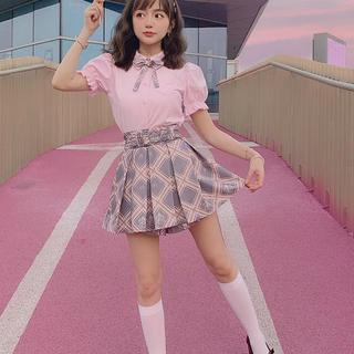 ボボンニジュウイチ(Bobon21)のリボンチェック柄プリーツスカート(ミニスカート)