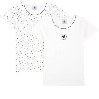 プチバトー(PETIT BATEAU)のあきとはるのママ様専用♡6ans プチバトーハートプリント半袖Tシャツ2枚組(Tシャツ/カットソー)