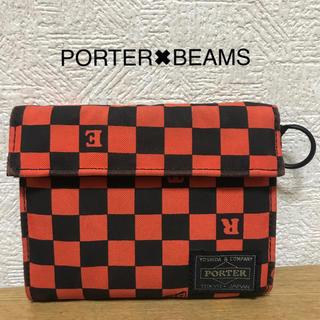 ポーター(PORTER)のPORTER✖️BEAMS 財布 (ブラック✖️オレンジチェック柄)(折り財布)