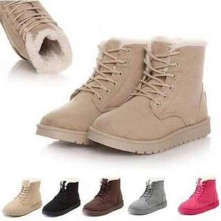 ■ベージュ 25.0cm スタイリッシュムートンブーツ もこもこ  軽量 (ブーツ)