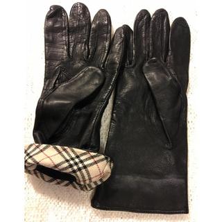 バーバリー(BURBERRY)のバーバリー革手袋 (美品)レディ−ス(手袋)