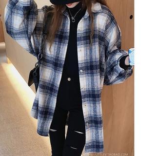 大きいサイズ レディース  チェック柄ロングシャツ(シャツ/ブラウス(長袖/七分))