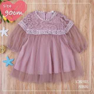 アウトレット⭐️レースチュールドレス 90cm(8) 海外子供服 soar(ワンピース)