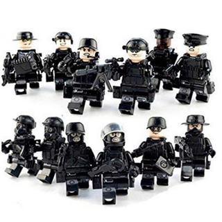 Lego - 【お買い得】黒色 特殊部隊 ミニフィグ レゴ互換品 12体+武器