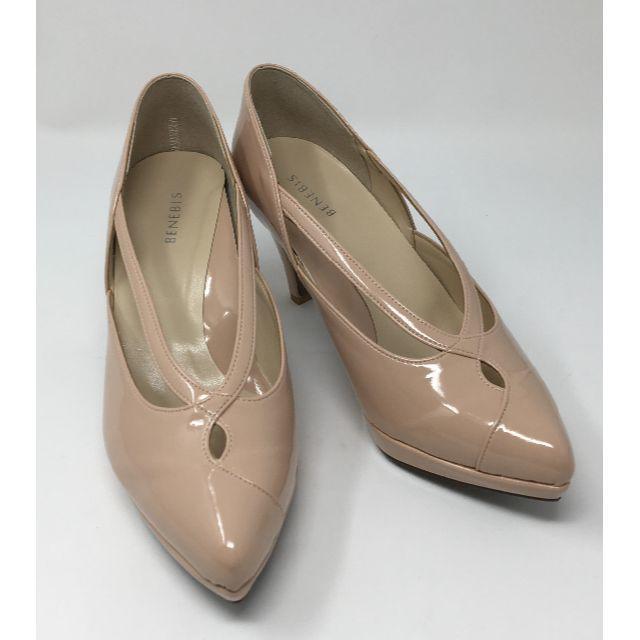 ベルメゾン(ベルメゾン)の新品★BENEBIS ヒール パンプス ピンクベージュ Eワイズ  24.5cm レディースの靴/シューズ(ハイヒール/パンプス)の商品写真