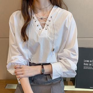 大きいサイズ レディース Vネックシャツ(シャツ/ブラウス(長袖/七分))