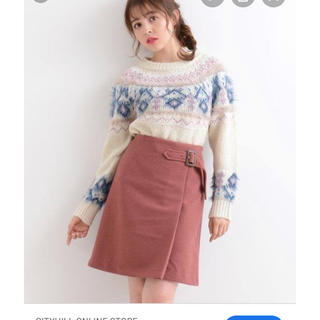 ベルト付きラップ風台形スカート