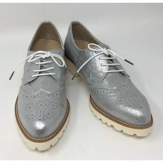 ベルメゾン(ベルメゾン)の新品☆BENEBIS マニッシュシューズ シルバー 25cm(ローファー/革靴)
