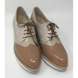 ベルメゾン(ベルメゾン)の新品☆BENEBIS マニッシュシューズ グレイッシュピンク 25.5cm(ローファー/革靴)