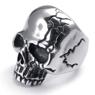 高品質チタンとステンレス 髑髏スカル指輪 22466 送料込(リング(指輪))