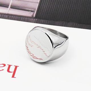 リング 指輪 印台 シルバー ステンレス サークル シグネット 鏡面 メンズ(リング(指輪))