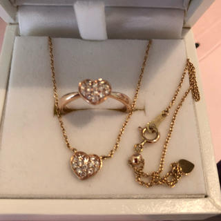 10Kピンクゴールド♡ネックレス、リングセット(リング(指輪))