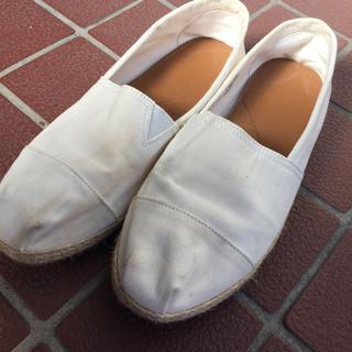 靴 男女兼用 XL 白 ホワイト スリッポン シューズ デッキシューズ(スリッポン/モカシン)