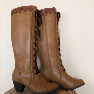 アクシーズファム(axes femme)のレースアップロングブーツ新品Lサイズ(ブーツ)