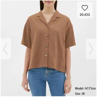 ジーユー(GU)の【新品】GU リネンブレンドオープンカラーシャツ(シャツ/ブラウス(半袖/袖なし))
