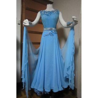 難有、水色スタンダードドレス、EMクチュール、社交ダンス、競技ドレス、デモドレス