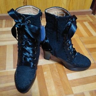 アクシーズファム(axes femme)のaxes femme  レースアップブーツ(黒) Sサイズ(ブーツ)