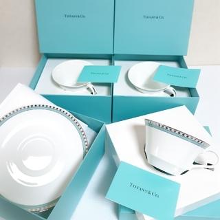 ティファニー(Tiffany & Co.)のティファニー プラチナブルーバンド カップ&ソーサー 3箱 セット(食器)