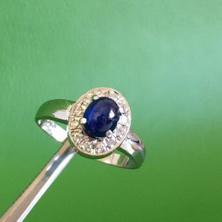 Pt900 ブルーサファイヤ0.93ct ダイヤ0.12ct リング 指輪 (リング(指輪))