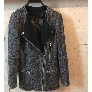 H&M - ライダース型 ツイードジャケット グレー系 とてもしっかりしています 34サイズ