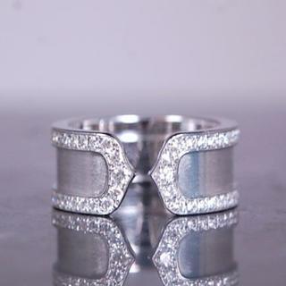 カルティエ(Cartier)のCARTIER カルティエ C2 フル オール ダイヤモンド リング K18 W(リング(指輪))