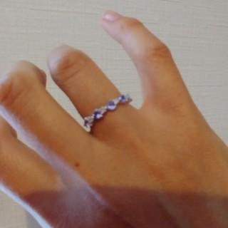タンザナイト K18WG ダイヤ0.08刻印あり 一文字リング 指輪(リング(指輪))